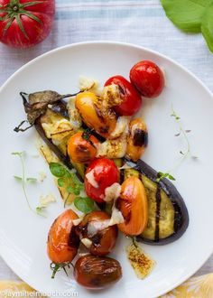 Grilled eggplant with roasted heirloom cherry tomatoes  #vegan #recipe