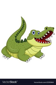 Cartoon crocodile isolated on white background Vector Image Cartoon Drawings Of Animals, Art Drawings For Kids, Cartoon Pics, Easy Drawings, Art For Kids, Painting Patterns, Fabric Painting, Crocodile, Dream Catcher Vector