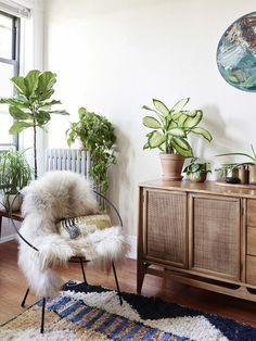 Chair and plants in the living room. Woven cushion by Maryanne. 'When we first moved in we had no furniture for three months while ours was being freighted. We slept on a blow up mattress, but the first things we bought were plants, beautiful linens and two of these beautiful mid century chairs.' says Maryanne. Photo – Eve Wilson, production – Lucy Feagins / The Design Files.