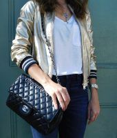 jaqueta metalizada, moda, look do dia, Gabi May, ootd, fashion, metallic, inspiration