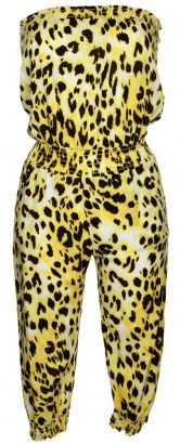 Strapless Yellow & Black Leopard Print Jumpsuit - Vintage clothing from Rokit - leopard print, animal print, jumpsuit