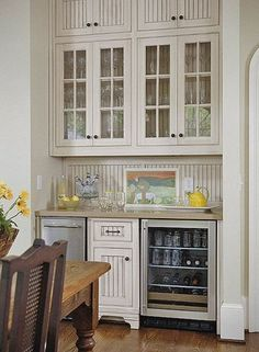 """The whole family benefits from this beverage zone. I love the mini frig and wine cooler...great """"green"""" idea in that the large refrigerator is not opened as much!"""