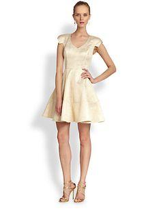 ABS - Metallic Jacquard Fit-And-Flare Dress - Saks.com