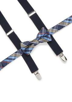 J. Khaki Plaid Bow Tie And Suspender Set - Navy - One Size