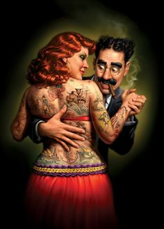 Groucho Marx & Suicide Girl Pinup  by Mark Fredrick
