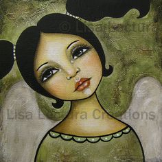 Folk Art Angel Print by Lisa Lectura by lisalectura on Etsy, $18.00