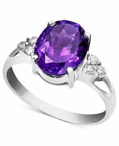14k White Gold Ring, Amethyst (2-1/3 ct. t.w.) and Diamond Accent Oval - Ring