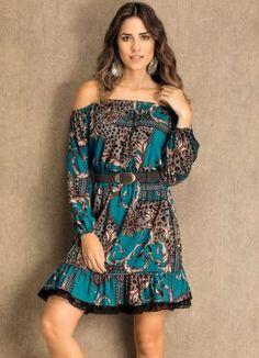 Vestido Estampa de Lenço com Babado de Renda - Quintess
