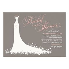 Bridal Shower Invitation | Elegant Wedding Gown Custom Announcements