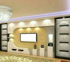 Modern wall design with TV Lcd Wall Design, Niche Design, House Ceiling Design, Ceiling Design Living Room, Bedroom False Ceiling Design, Home Room Design, Living Room Partition Design, Modern Tv Room, Modern Tv Wall Units