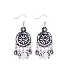New Boho Tibetan Earrings Zinc Alloy Black Enamel Flower Crystal Round Water Drop Heart Shape Pendant Hook Earrings for Lady