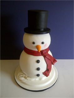 This little chap actually wasn't little at all, constructed from an mammoth sphere of traditional rich fruit cake wrapped in marzipan (body), a spherical chocolate cake with salted chocolate buttercream (head) and a stacked vanilla. Christmas Themed Cake, Christmas Cake Designs, Christmas Cake Topper, Christmas Cakes, Christmas Snowman, Xmas Cakes, Cupcakes, Cupcake Cakes, Snowman Cake