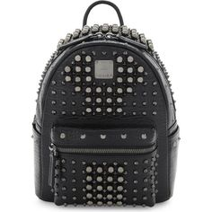 Mcm Stark pearl stud mini backpack ($1,500) ❤ liked on Polyvore featuring bags, backpacks, padded bag, backpack bags, miniature backpack, strap backpack and mini backpack