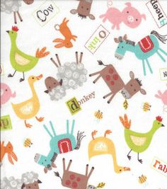 Nursery Fabric - Farmer Multi Flannel