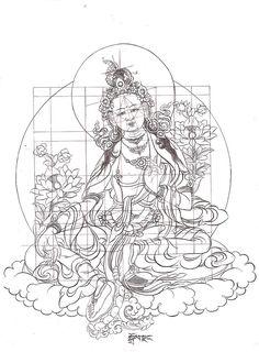 Vam seed sylable dharma et dakinis t Art Buddha Kunst, Buddha Art, Thangka Painting, Buddha Painting, Buddha Tattoos, Hindu Tattoos, Symbol Tattoos, Tibet Art, Thai Art