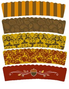 Printable Thanksgiving cupcake wrappers and toppers
