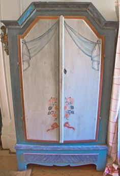 rare 1800s Jamtland Kurbits folk art cupboard