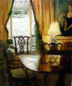 """""""Polished Table"""" by Karen Lawrence is a 20"""" x 24"""" oil painting and available at Bucks County Gallery in New Hope PA. http://buckscountygalleryart.com/collections/40341"""