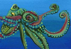 ACEO ATC Green Octopus Marine Fish Ocean Wildlife Art Original Painting-C. Smale #Realism