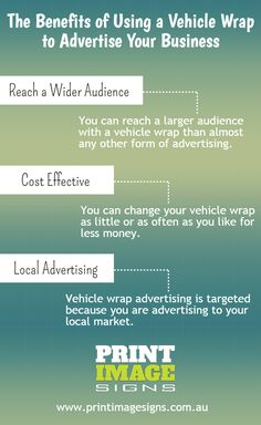 Vehicle wrap is the best option for any business promotion. There are lots of benefits discuss in this infographic. For further information regarding vehicle wrap, You can visit our website -www.printimagesigns.com.au