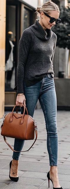 #spring #outfits black turtle-neck sweater. Pic by @city_streetstyles