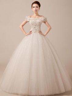 Off Shoulder Debutante Ball Gown with Scallop Lace Edge | JoJo's Shop