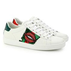 Gucci Ace LipEmbroidered Leather LowTop Sneakers ($870) ❤ liked on Polyvore featuring shoes, sneakers, red, leather sneakers, red shoes, low top, red sneakers and metallic sneakers