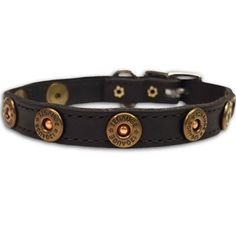Extra small leather dog collars with shotgun shell conchos perfect for tiny puppies and toy breeds.