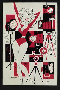 Derek Yaniger, retro camera and pinup model illustration