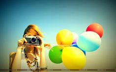 Mood Girl Camera Balloons Wallpaper