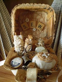 Sewing box made out of an egg carton. So vintage looking.