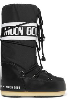 Moon Boot - Shell-piqué And Faux Leather Snow Boots - Black -
