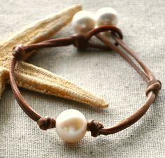 Large fresh water pearls and leather bracelet  . . .  ღTrish W ~ http://www.pinterest.com/trishw/  . . .  #handmade #jewelry