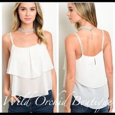 ❇️LAST ONE-SIZE L ❇️Chiffon Layered Top White Chiffon Style Layered Top with Silver Embelished Straps Keyhole on Back.  A Wardrobe Summer Staple 100% Polyester. Available S/M/L. Boutique Tops