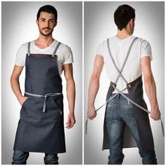 Make the front pocket larger as for a gathering apron and add pockets on the lower back for tools. Jeans En Cuir, Cafe Apron, Restaurant Uniforms, Work Aprons, Leather Apron, Aprons For Men, Sewing Aprons, Clothing Photography, Apron Designs