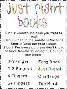 Just right books (freebie poster) Library Lesson Plans, Library Lessons, Reading Lessons, Reading Strategies, Library Ideas, Reading Resources, Math Lessons, Ela Anchor Charts, Reading Anchor Charts