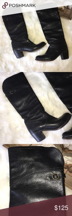 Frye Black Knee High Leather Heeled Boots Sz 9 Super chic and stylish in excellent preowned condition size 9 knee high & heeled Frye Leather Black Boots Frye Shoes Over the Knee Boots