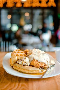 Fried Chicken & Waffles -  guys, this is so unbelievably good! Don't know what that white sauce is, I love it with syrup... SO GOOD!!