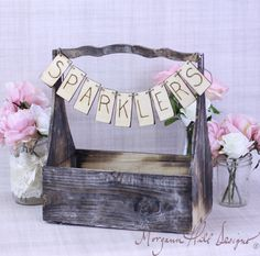 Rustic Basket With Programs Banner Sign Country Wedding Decor Barn Chic (Item Number 130031). $45.00, via Etsy.