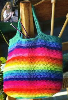 Colorful Striped Crochet Tote made out of yarn scraps! Crochet Tote, Crochet Purses, Free Crochet, Crochet Diagram, Crochet Patterns, Knitting For Kids, Knitted Blankets, Hobbies And Crafts, Purses And Bags