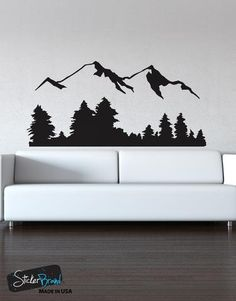Vinyl Wall Decal Sticker Snow Mountain View w/ Trees #194 | Stickerbrand wall art decals, wall graphics and wall murals.
