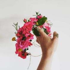 FRESH FLOWER CROWN F l o r a l S t y l i s t  (@pebbleanddot) This wee stunner made from foraged garden roses + wild bits ♡ Fresh Flowers, Flower Crown, Happy Friday, Wedding Flowers, Garden Roses, Instagram, Crown Flower, Floral Crown, Flower Crowns
