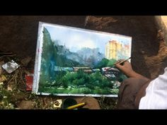 paint watercolor on location and paint three spot in one painting Painting Tutorials, Painting Tips, Watercolor Landscape, Watercolor Paintings, Step By Step Painting, Drawings, Paper, Colors, Artwork