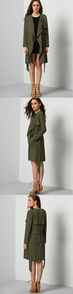 We are offering you a soft take to the classic trench coat with this green long sleeve coat. It comes with a wide lapel collar, gun flap, and back yoke on the uppe bodice, then finished with a waist band and side box pockets.