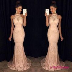 Sleeveless High-Neck Mermaid Elegant Lace Sweep-Train Prom Dress PD20185824