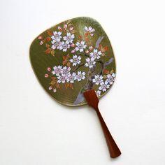 Uchiwa-fan Greeting Card - Blooming Sakura Tree in the Wind Hand Held Fan, Japanese Prints, Fans, Greeting Cards, Bloom, Metal, Silver, Gifts, Beautiful