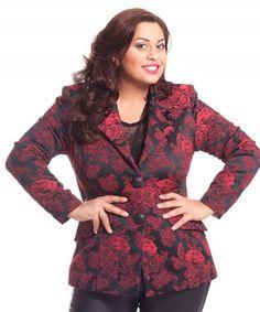 roter Blazer mit floralem Muster.  Die schönste Mode in Plus Size Größen finden Sie jetzt auf: www.designforyou.at/shop Rompers, Plus Size, Design, Dresses, Fashion, Red Blazer, Fashion Plus Sizes, Fashion Women, Jackets