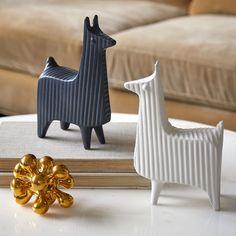 llamas by Jonathan Adler Alpacas, Decorative Objects, Decorative Accessories, Desktop Accessories, Pattern And Decoration, Wood Animal, Deco Originale, Ceramic Animals, Jonathan Adler