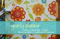diy planner for 2013 - made out of a cereal box!! free printable for monthly calendars