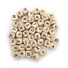 Hot Selling 100pcs Square Cube 36 Russian Alphabet Natural Wood Spacer Beads 10mm Children DIY jewelry pacifier Clip making